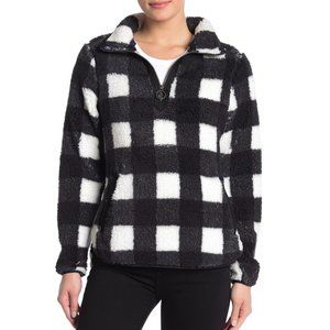NEW TE VERDE Shearling O-Ring Zip Pullover Plaid